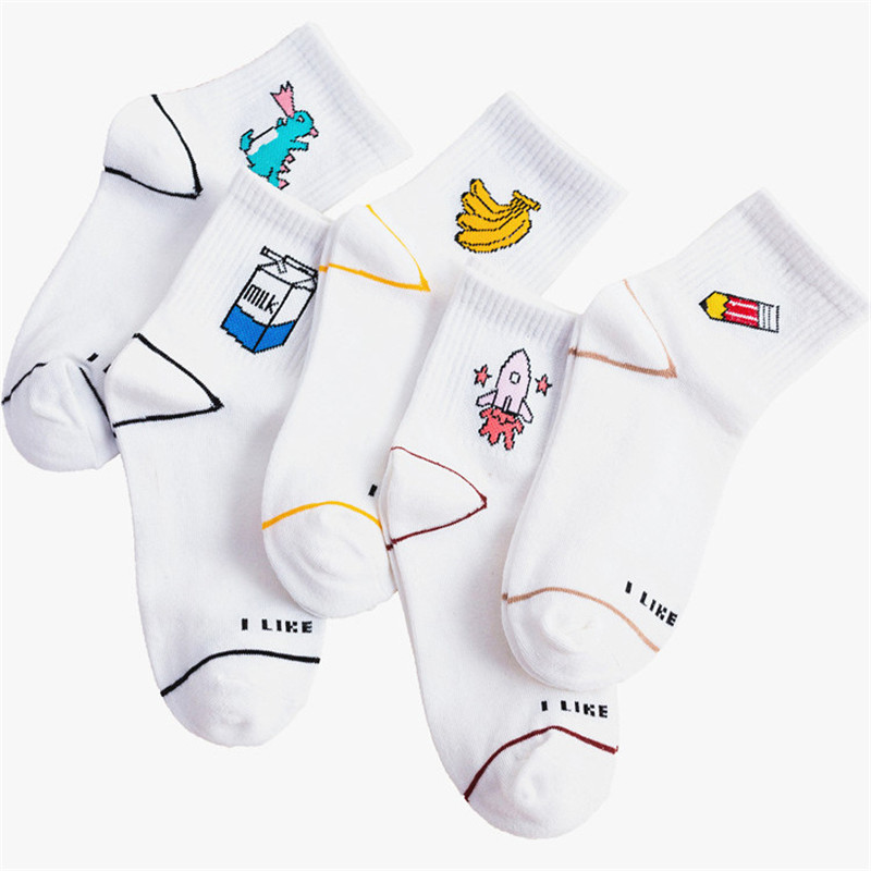Fashion Autumn Cartoon Animal Fruit Cute Women Socks Harajuku Streetwear Ankle Sox Cotton Japan Kawaii Students Happy Funny Sock