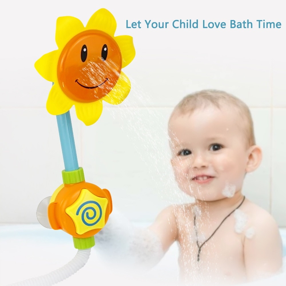 Baby Bath Toy Sunflower Spray Water Toy Bathtub Water Game  Shower Faucet  Swimming Bathroom Toys For Children Toddler