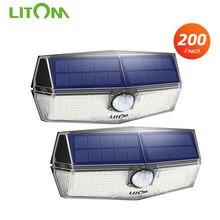 Litom luminária solar para jardim, 2 pacotes, 200 leds, litom, cd210, lâmpada de parede com sensor pir atualizado, à prova d' água ipx7 lâmpada com sensor
