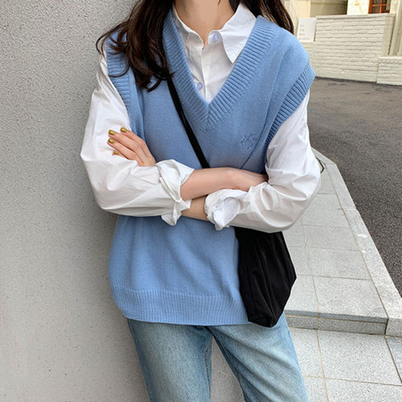 8 Colors 2019 Japanese Preppy Style Embroidery Sleeveless V Neck Knitted Loose Vest Sweaters Womens Knitted Sweaters (X1135)