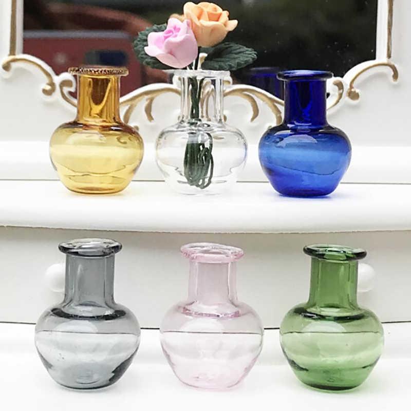 6 Stijlen Voor Poppenhuis Meubels Miniaturen Blauw Glas Kruik Glazen Pot Vaas 1/12 Schaal Keuken Speelgoed
