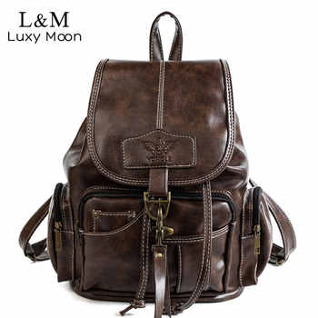 2020 Vintage Women Backpack For Teenage Girls School Bags Fashion Backpacks Retro Leather Black Drawstring Large BagPack XA150H - DISCOUNT ITEM  40 OFF All Category