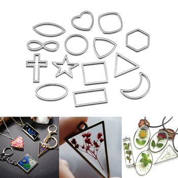 30pcs/lot Border Mold Geometric Hollow Metal Frame Bezel Epoxy Resin Molds Pendant Tray For DIY Jewelry Making Earrings