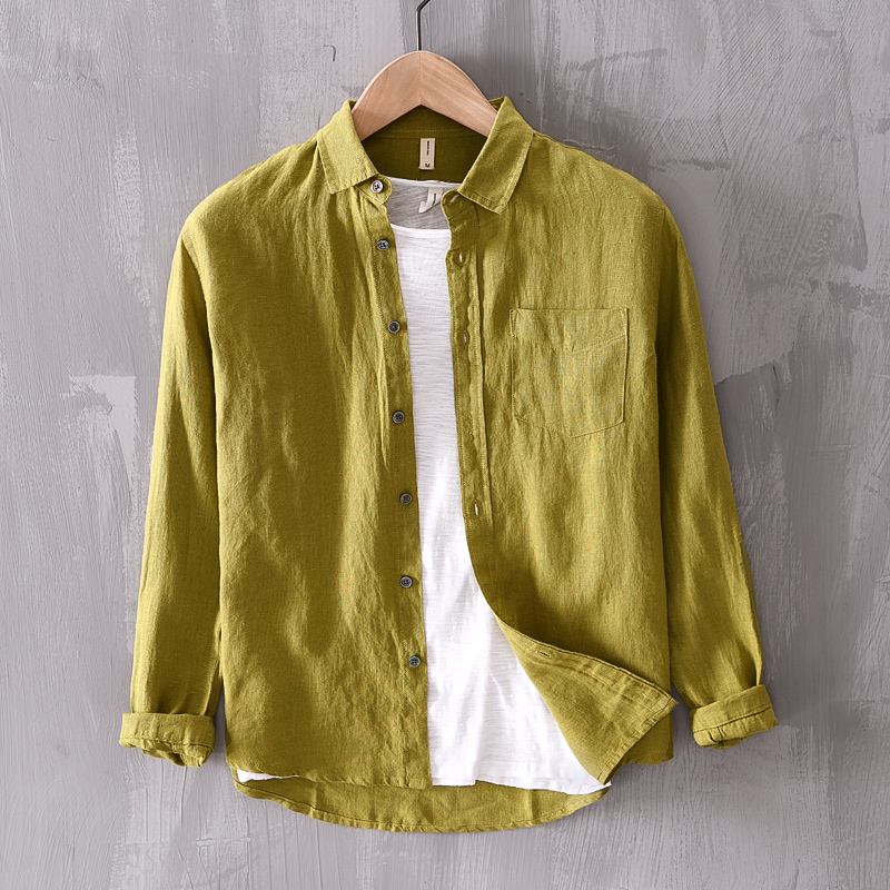New Arrival Solid Brand Linen Shirt Men Fashion Casual Green Shirts For Men Pure Flax Shirt Mens Comfortable Shirts Male Chemise