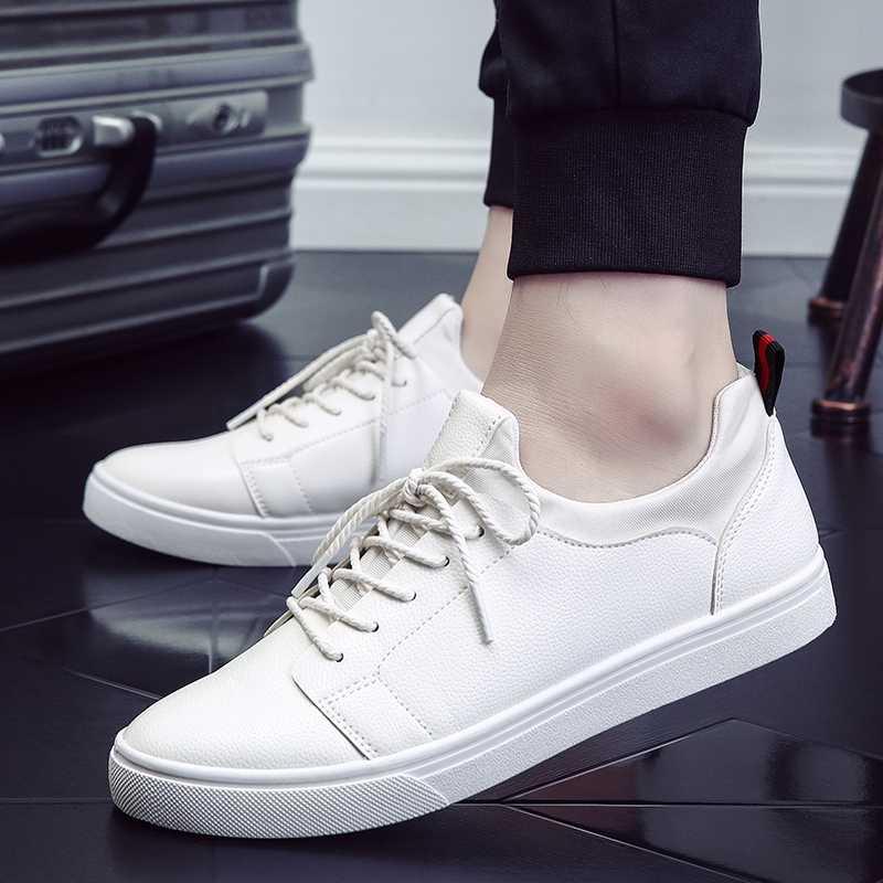 Nieuwe Witte Zwarte Schoenen Mannen Schoenen Mode Man Sneakers Casual Straat pu lederen Mannen Schoenen Merk Man Schoeisel ST473