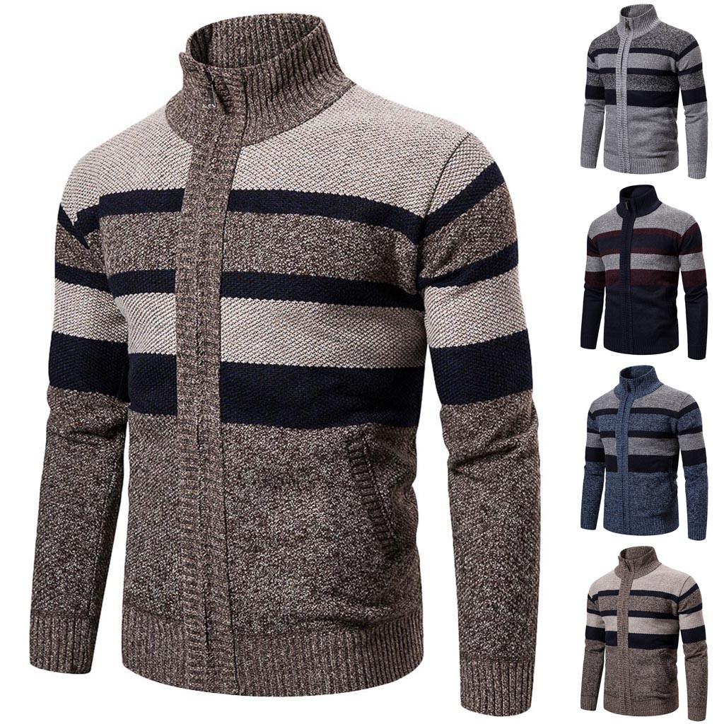 Mens Winter Turtleneck Zipper Long Sleeve Knitted Sweater Top Outwear Coat Dropshipping Winter 2020 Fashion Selling Work Clothe