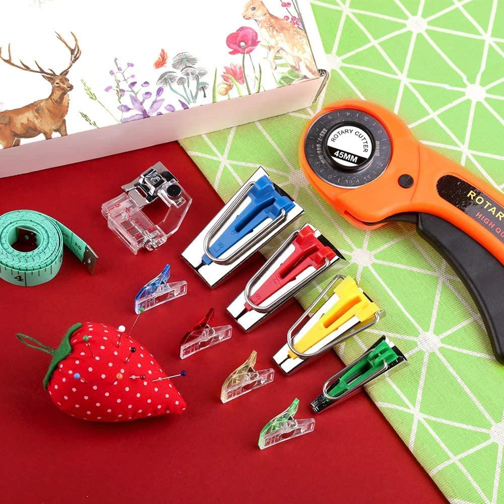 MIUSIE Fabric Bias Tape Makers Kit with Rotary Cutter, Sewing Clips, Sewing Machine Presser Foot, Rotary Cutter for Fabric-5