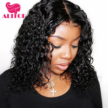 ALIRULER 13x6 Curly Short Bob Wig Jerry Curly Lace Front Human Hair Wigs Pre Plucked With Baby Hair Peruvian Remy Straight Hair