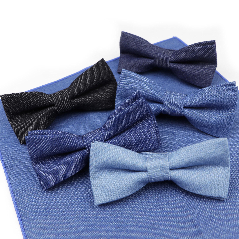 Solid Color Baby Kids Bow Ties Boy Children Denim Bowtie Tuxedo Cotton Bowties Necktie Butterfly