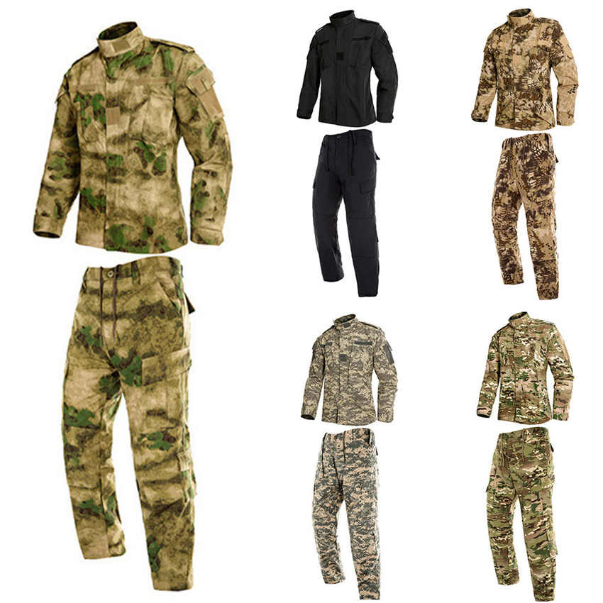 2PCs Man Military Uniform Jungle German Camouflage Combat Airsoft Tactical Jacket Pants Clothing Set ACU CP Army Suit Wholesale