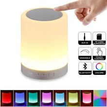 Night Light Bluetooth Portable Wireless Touch Control Color LED Speaker Bedside Outdoor Table Lamp TF Card