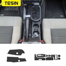TESIN Carbon Fiber Gear Shift Panel Cover Trim for Jeep Wrangler JK 2007 2010 Gearshift Sides Decor Decal Sticker Accessories