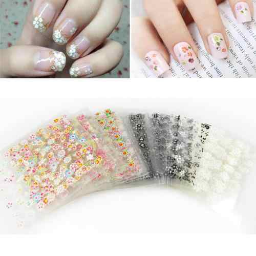 50 Pcs 3D Ontwerp Nail Art Sticker Tips Bloem Vlinder Manicure Beauty Decals