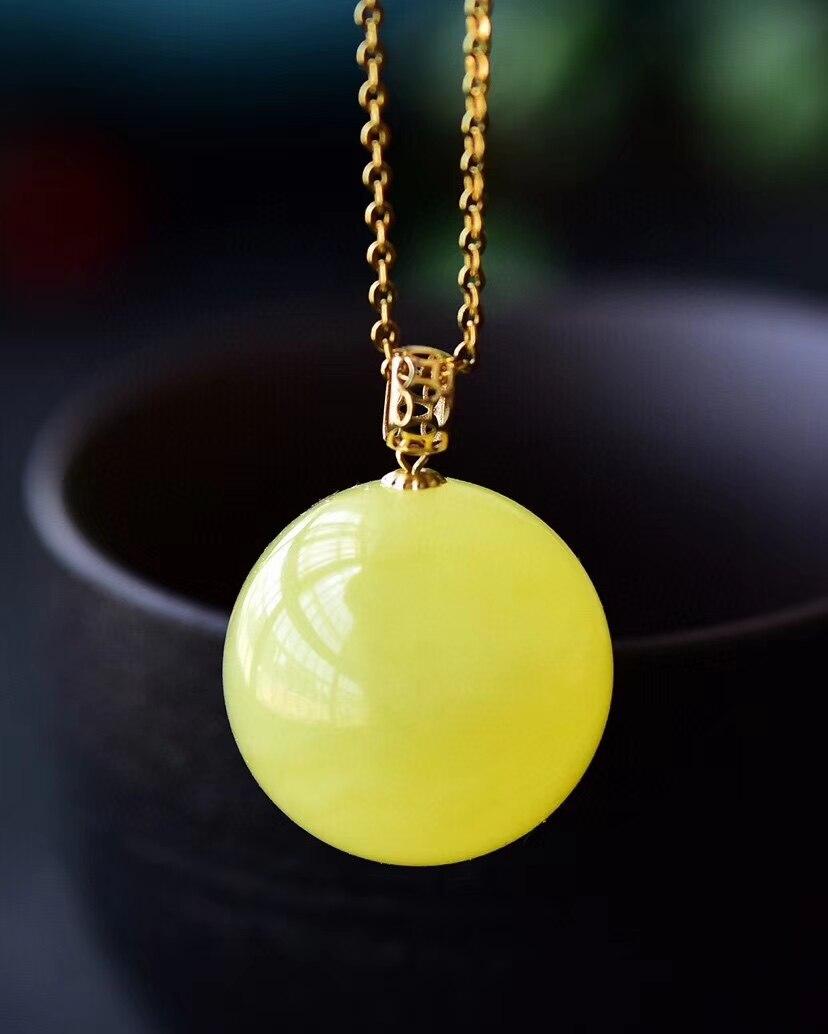 Натуральное желтое Янтарное ожерелье круглая Сфера 14 к Золотая женская подвеска 18 мм целебный драгоценный камень новый подарок кристалл аа