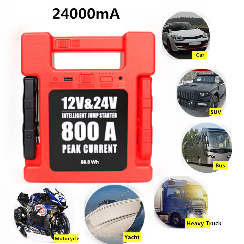 24000mA 12V/24V LED USB Car Jump Starter Portable Power Bank Backup Charger Emergency Jump Starter For Car Truck SUV Boat Moto