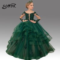 Green Girls Party Gowns HT088 Embroidery Lace Flower Dresses Ruched Sequin Kids Party Dress Long Sleeve Vestido Primera Comunion