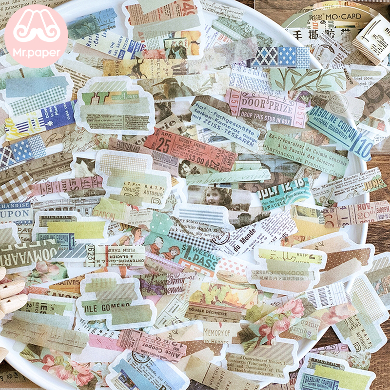 Mr.paper 60Pcs/pack 4 Designs Vintage Retro Strip Scrapbooking Hand Torn Stickers Bullet Journal Decorative Stationery Stickers