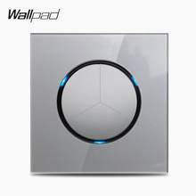 Wallpad L6 3 Gang 1 Way 2 Way Wall Light Switch Electric Power Switch Push Button with LED Indicator Grey Crystal Glass