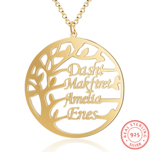 Personalized 925 Sterling Sliver Name Necklaces Tree Pendant Engraved 4 Names Fashion Custom Jewelry Anniversary Gift for Women
