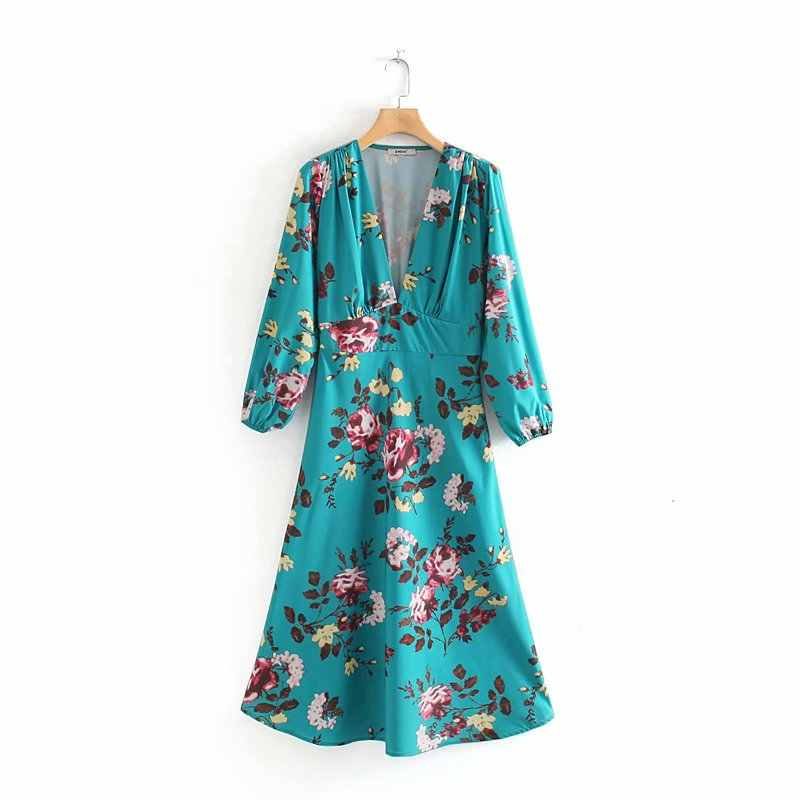 2019 New Women Deep V Neck Pleats Kimono A Line Dress Ladies Elegant Flower Vestidos Print Casual Slim Chic Party Dresses DS2903
