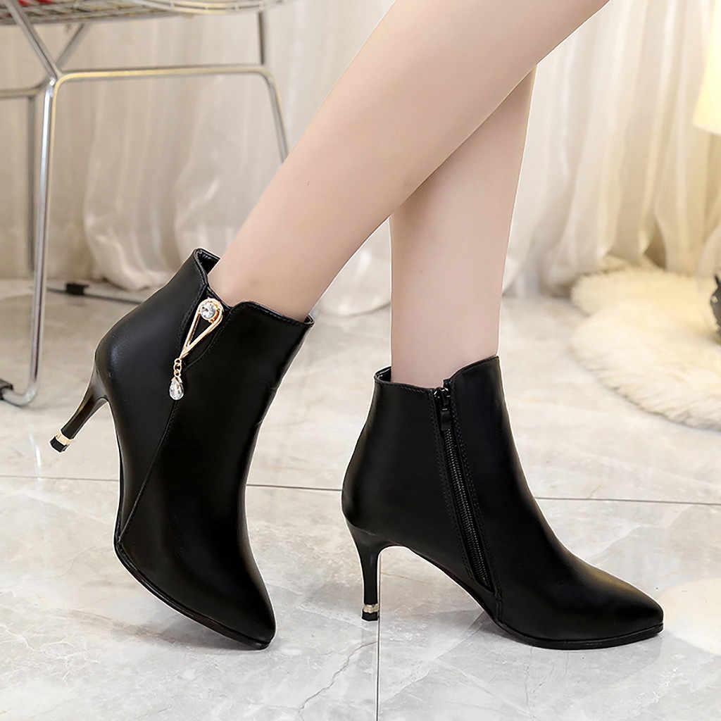 Retro mujer tacones finos botas cremallera Soild punta puntiaguda PU cuero zapatos chussures mujer Buty Damskie Scarpe Donna otoño botas