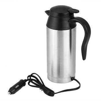 750ml Stainless Steel Electric Kettle 12V Car Auto Heating Water Pot Portable Travel Coffee Tea Milk Boiler Thermal Cup 0 5l mini electric kettle stainless steel 1000w portable travel water boiler pot sonifer