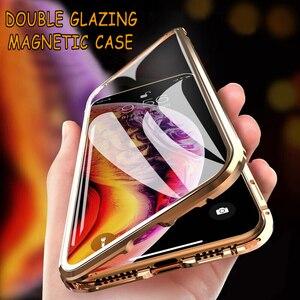 Image 1 - Funda magnética de Metal a prueba de golpes para Iphone, funda de vidrio templado de doble cara para Iphone 11, 6, 6S, 7, 8 Plus, X, XS, XR, XS, Max, 11 Pro Max, 360