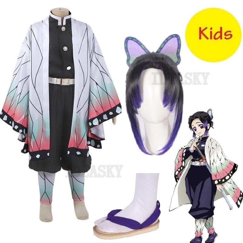 Anime Dämon Slayer Kimetsu keine Yaiba Kochou Shinobu Cosplay Kostüm kinder mädchen kind Kimono Uniform Halloween Weihnachten Party Perücke