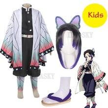 Costume de Cosplay Kimetsu no Yaiba, Costume de Cosplay pour enfants filles, uniforme Kimono pour Halloween, perruque de fête de noël