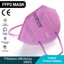 Rosa ffp2 máscara facial kn95 máscaras filtro pm2.5 máscara respirável boca ce máscara protetora anti-poeira mascarilla ffp2 masque tapabocas