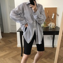 2019 Early Autumn New Style Simple Lazy Blue Vertical Striped Lapel Shirt Long Sleeves Loose Thin Style Blouse Women Shirts lapel dip hem vertical striped white blouse