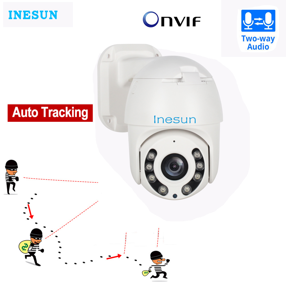 Inesun HD 1080P Auto Tracking PTZ IP Camera 2MP Outdoor Security Camera Support Two Way Audio Onvif IR Night Vision CCTV Camera