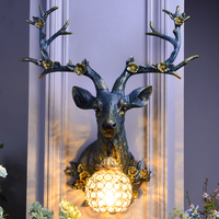 Nordic Ancient Loft Resin Sika Deer Wall Lamp Modern Attic Aisle Living Room Bedroom Wall Sconce Light Home Decor Vanity Light