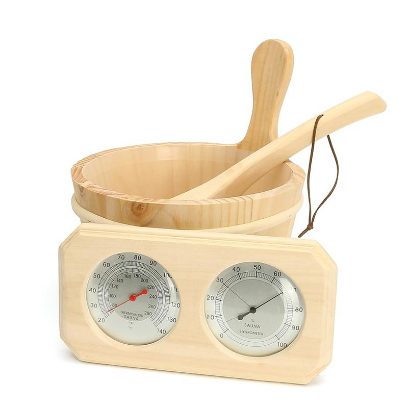 3Pcs/Set Sauna Room 2 in 1 Thermometer Hygrometer Wooden Bucket Sauna Accessory Set Steam Bath Thermometure Instrument Humidity
