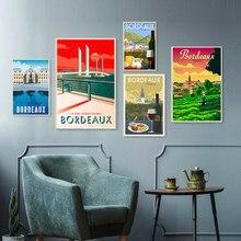 Toile de peinture murale Vintage de Bordeaux, pays du vin, carte de voyage, affiches d'art revêtues, affiches de décoration de maison, cadeau