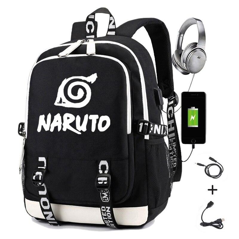 Naruto Backpack For Boys Girls Student School Bag With Usb Charging Printing Gaara Sasuke Uchiha Laptop Casual Travel Backpack