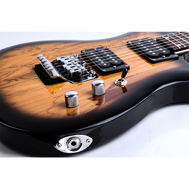 Купить с кэшбэком 24 Grade Double Shake Electric Guitar Floating Tremolo System Shine Decay Wood Skinned Electric Guitarra Sunset Color AGT238