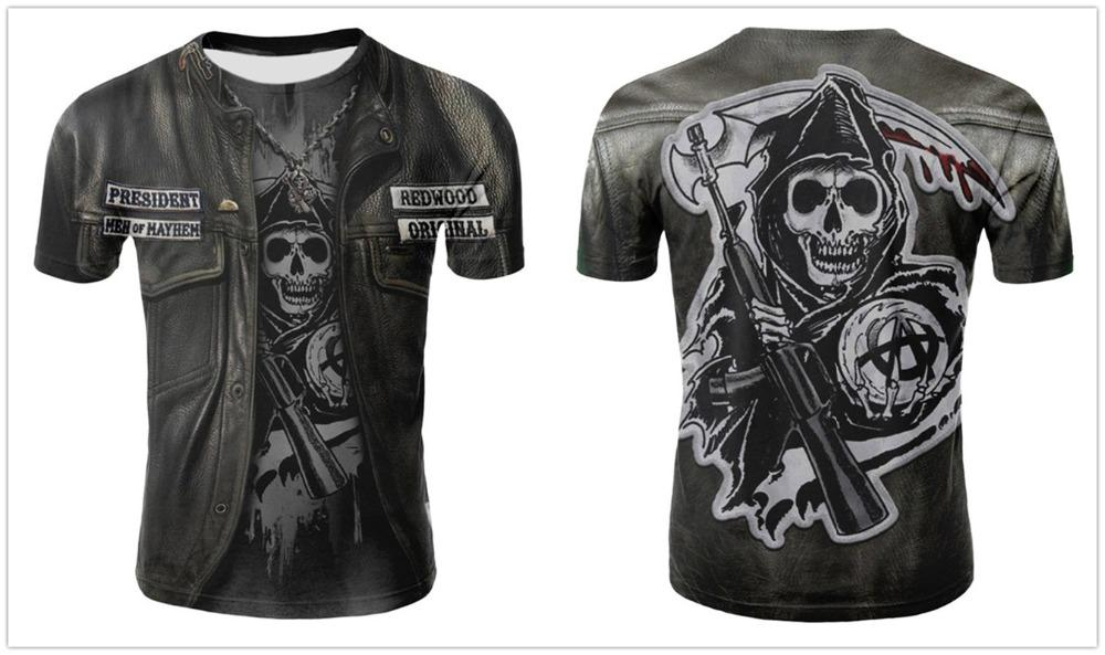 Skull T shirt Men Skeleton T-shirt Punk Rock Tshirt Gun T shirts 3d Print T-shirt Vintage Gothic Mens Clothing Summer tops