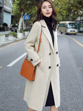 Long Coats Women British Style New Elegant European Designer Wide-waisted Suede Coat Double Breasted Fashion Blazers Trend