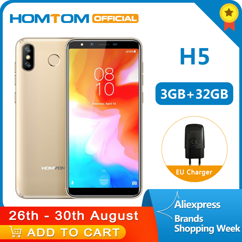 Version globale HOMTOM H5 360 OS Android8.1Mobile téléphone 3GB + 32GB 3300mAh 5.7