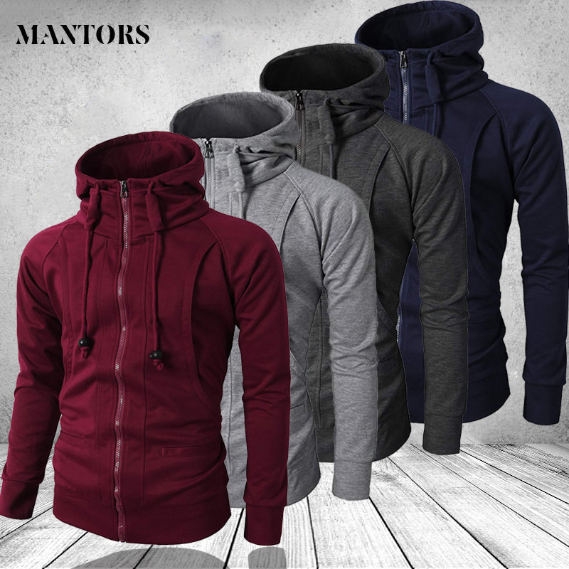Hip Hop Zipper Hooded Sweatshirt Men 2020 Spring Casual Solid Hoodies Sweatshirts Male Brand Streetswear Jackets Red Black 3XL