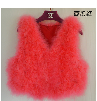 Новинка, женский жилет из натурального меха страуса, меховое пальто из страуса, Меховая куртка, много цветов,, низкая цена, F1092 - Цвет: light red