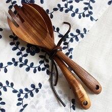 2 uds. De cuchara de madera, tenedor para ensalada, juego de cuchara de servicio grande, utensilios de cocina de madera con mango largo, cuchara para sopa, cucharón, vajilla para ensalada