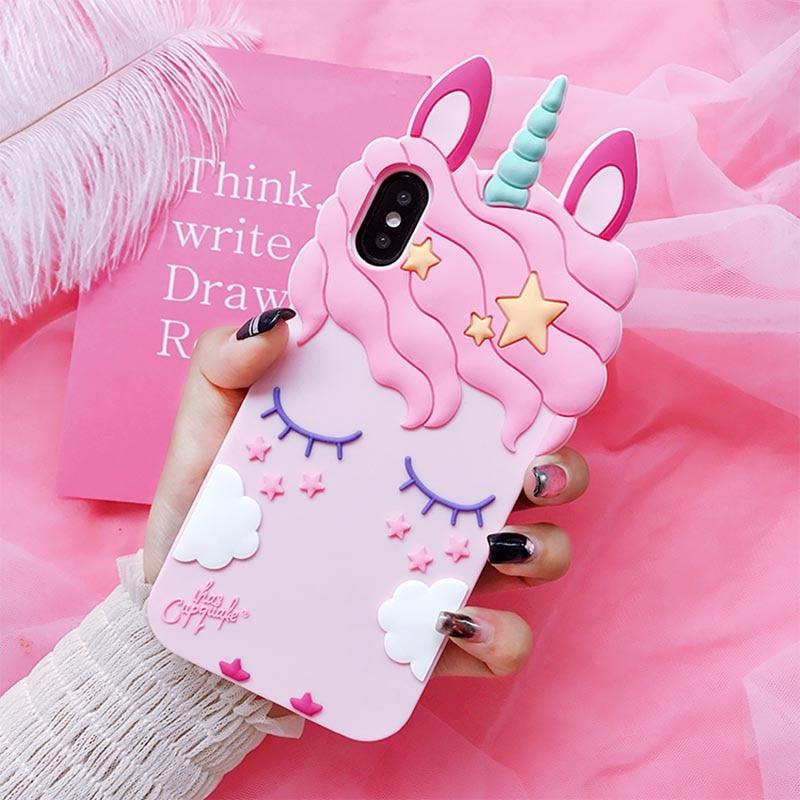 3D Fashion Cartoon Pink Unicorn Soft Silicone Case For Samsung Galaxy S9 S8 Plus S6 S7 Edge J1 J3 J5 J7 2016 2017 A8 Plus 2018