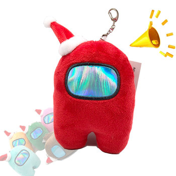 10cm Among Us Plush Game Plush Toy KeyChains Colorful Stuffed Doll Christmas Gift With Voice Red Small Among Us Plushie image