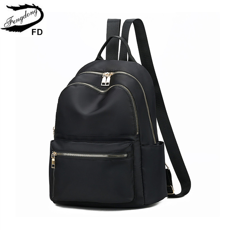 FengDong Female Small Black Backpack Anti Theft Travel Backpack Waterproof Oxford Fabric School Bags For Teenage Girls Back Bag