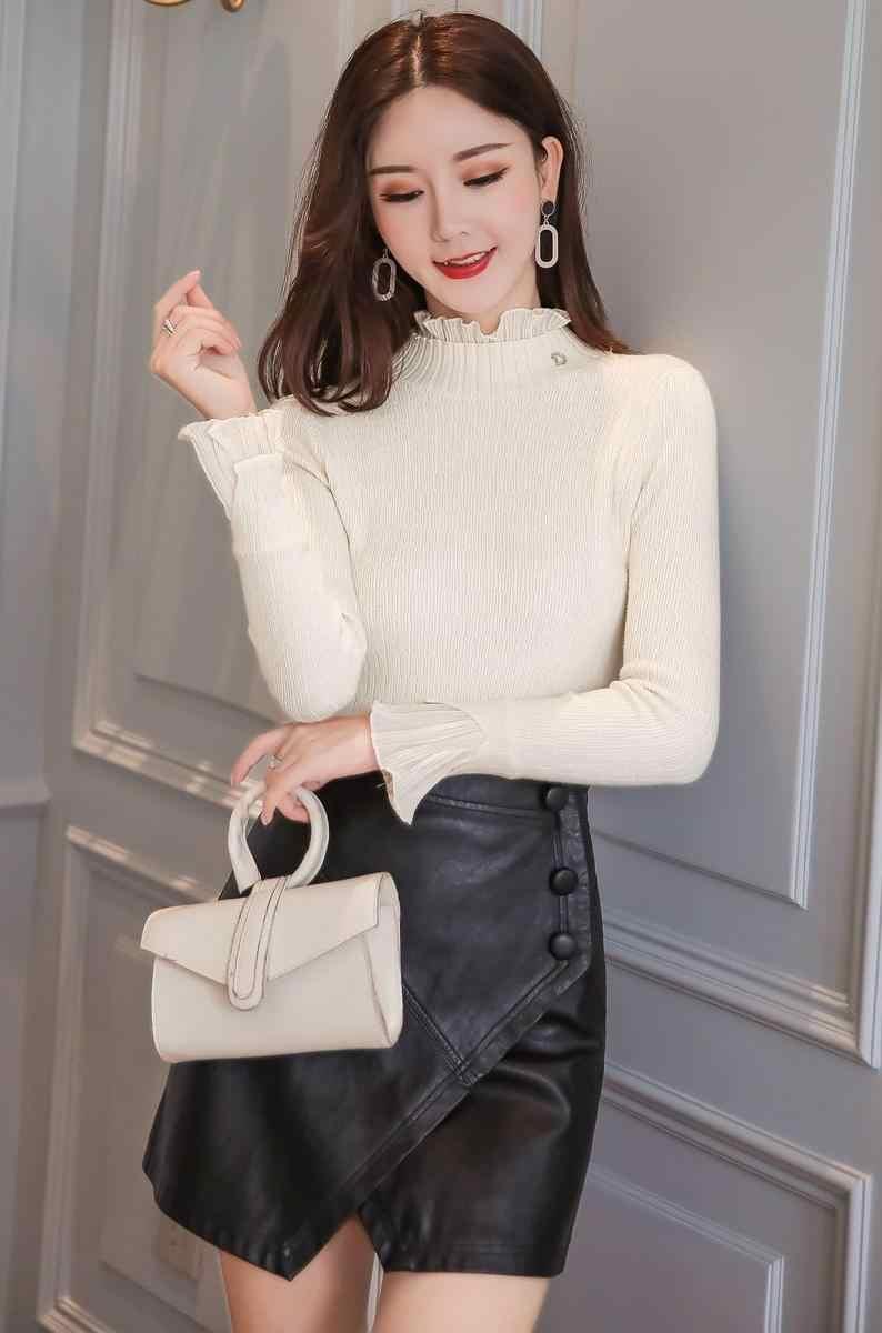 Autunno 2019 Nuovo Stile Coreano Foglia di Loto Bordo Buttery Manica Maglione di Base Sottile del Maglione Delle Donne Solido Bianco Rosa Dolcevita 6498 50