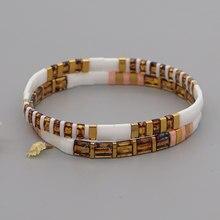 Miyuki pulseiras para mulheres jóias na moda contas jóias japonês tila grânulo praia pulseras estiramento pulseira atacado