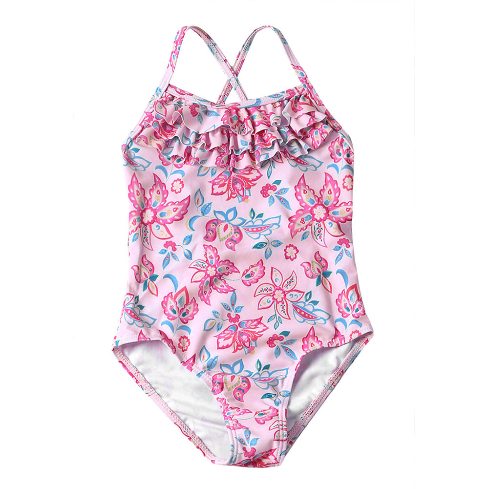 One-piece Swimsuit For Children Camisole Multilayer Frill Girls Hot Springs Tour Bathing Suit Bikini Set TZ410040