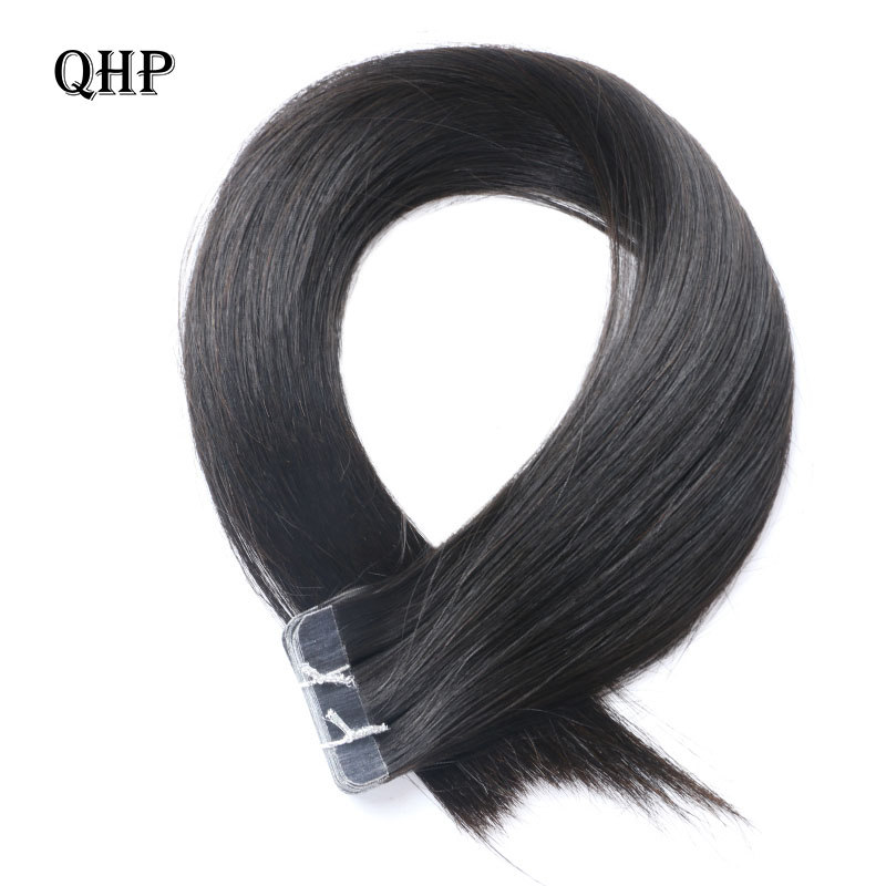 QHP Hair  Remy Human Hair Extensions 2.5g/stand 20pcs/pack Tape In Hair Skin Weft 50g